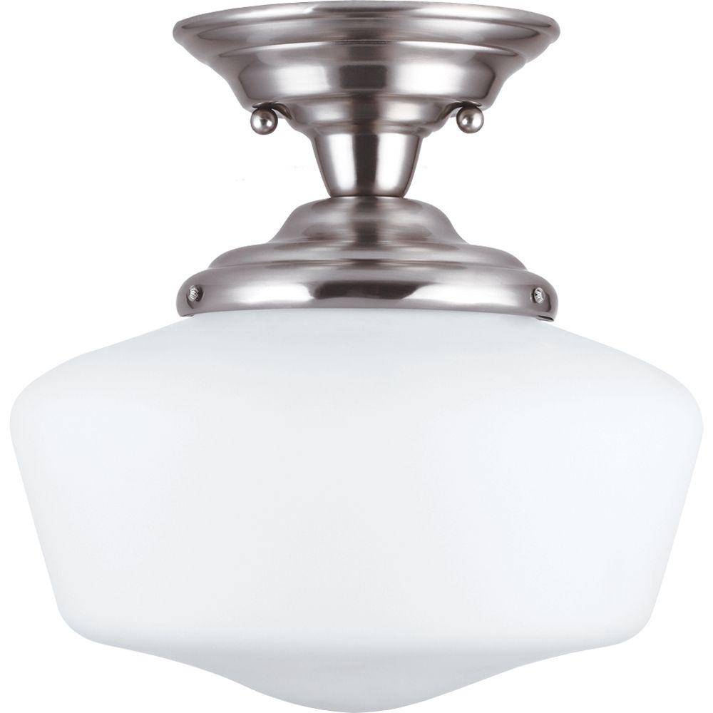 1 Light Brushed Nickel Fluorescent Semi-Flush