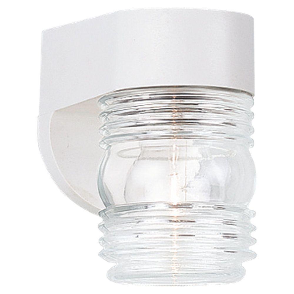 Lumière Seagull fixée au mur à une ampoule avec abat-jour clair, Fini blanc