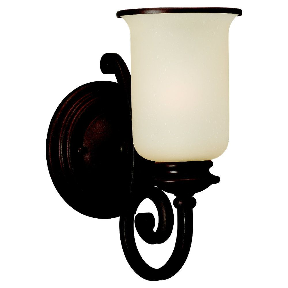 1 Light Misted Bronze Incandescent Wall Sconce