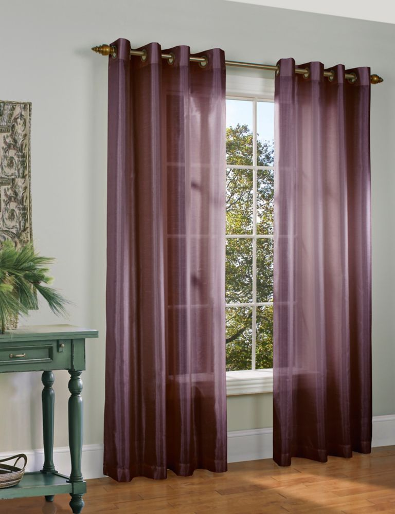 Home Decorators Collection Faux Silk Grommet Plum 54 Inch X 84 Inch The Home Depot Canada