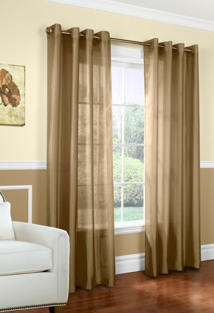 Faux silk, Grommet, Taupe - 54 Inch x 84 Inch