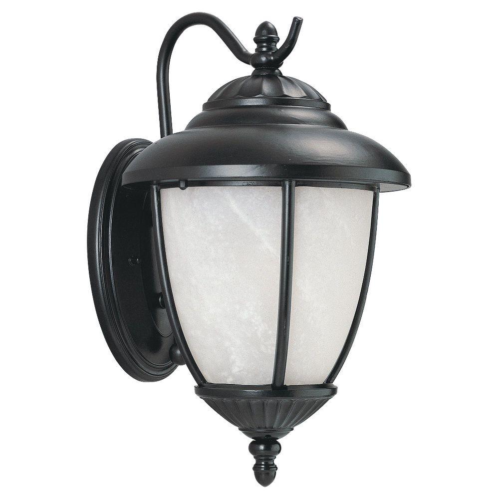 1 Light Black Fluorescent Outdoor Wall Sconce