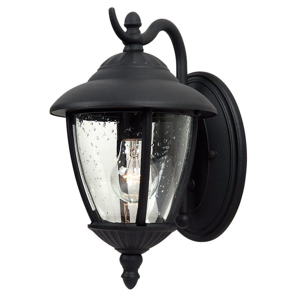 Lumière Seagull fixée au mur à une ampoule avec abat-jour clair, Fini noir
