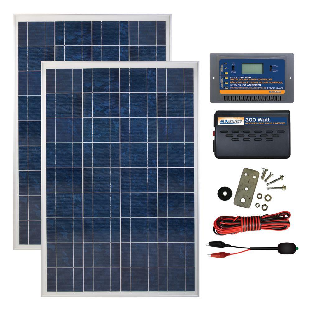 coleman 200 watt 12 volt solar backup kit the home depot. Black Bedroom Furniture Sets. Home Design Ideas