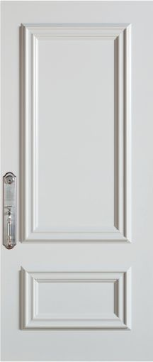 Stanley Doors 37.375 inch x 82.375 inch 2-Panel Prefinished White Right-Hand Inswing Steel Stanguard Maximold Front Door - ENERGY STAR®