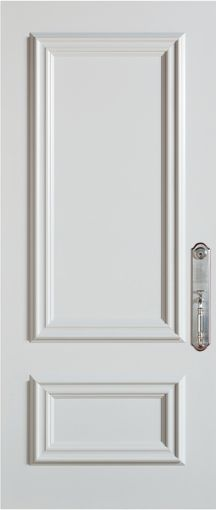 Stanley Doors 37.375 inch x 82.375 inch 2-Panel Prefinished White Left-Hand Inswing Steel Stanguard Maximold Front Door - ENERGY STAR®