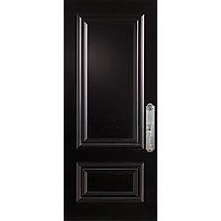 """Stanley Doors Porte en acier Stanguard, Maxi Mold, Max Steel 36"""" x 80"""" -  préfinie Stancoat noir, poignée main gauche. - ENERGY STAR®"""