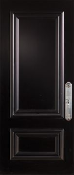 Stanley Doors 37.375 inch x 82.375 inch 2-Panel Painted Black Left-Hand Inswing Steel Stanguard Maximold Front Door - ENERGY STAR®