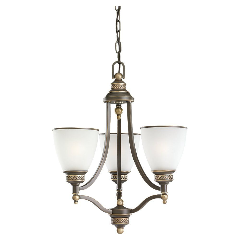 3-Light Estate Bronze Chandelier