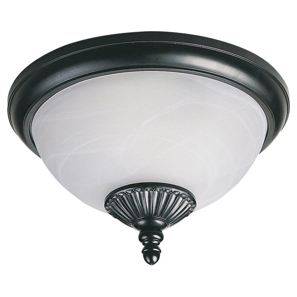 2 Light Black Fluorescent Outdoor Ceiling Fixture