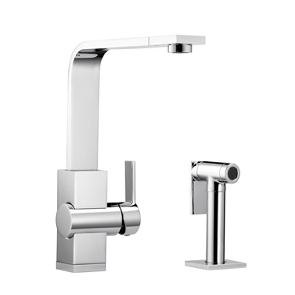 Single Lever, Contemporary Solid Spout, Kitchen Faucet With Side Spray, Stainless Steel