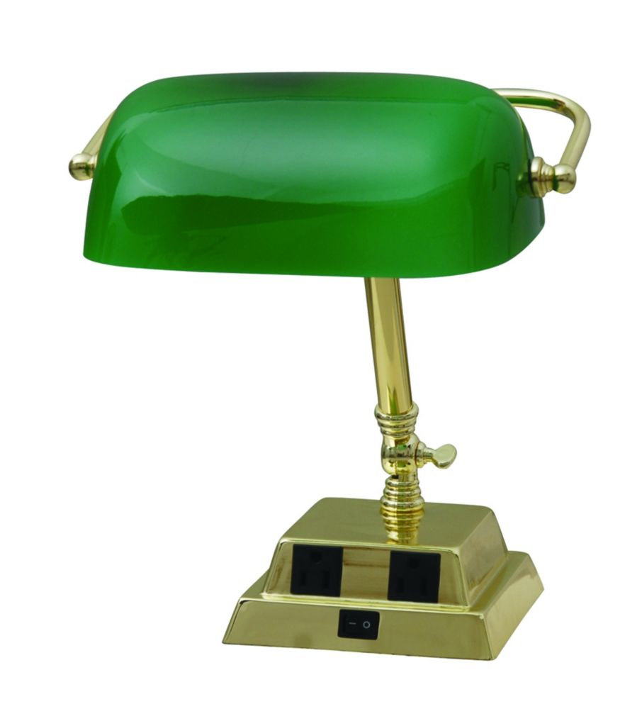 13.8 inches Brass Bankers Lamp w/ 2 outlets