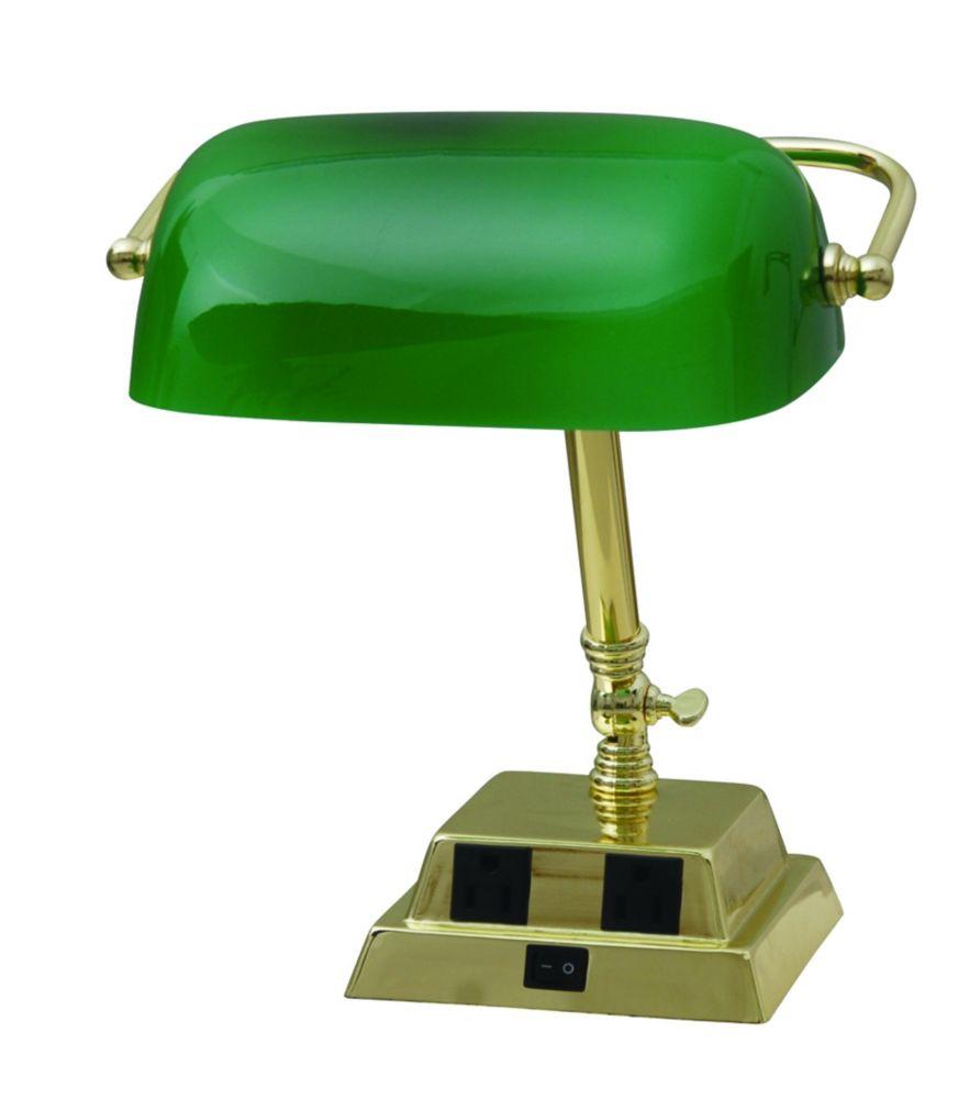 Lampe de banquier de 13,8 po (35,05 cm) en laiton avec deux prises