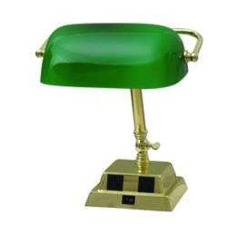 Hampton Bay 13.8-inch Bankers Lamp in Brass with Green Glass Shade and 2 Outlets