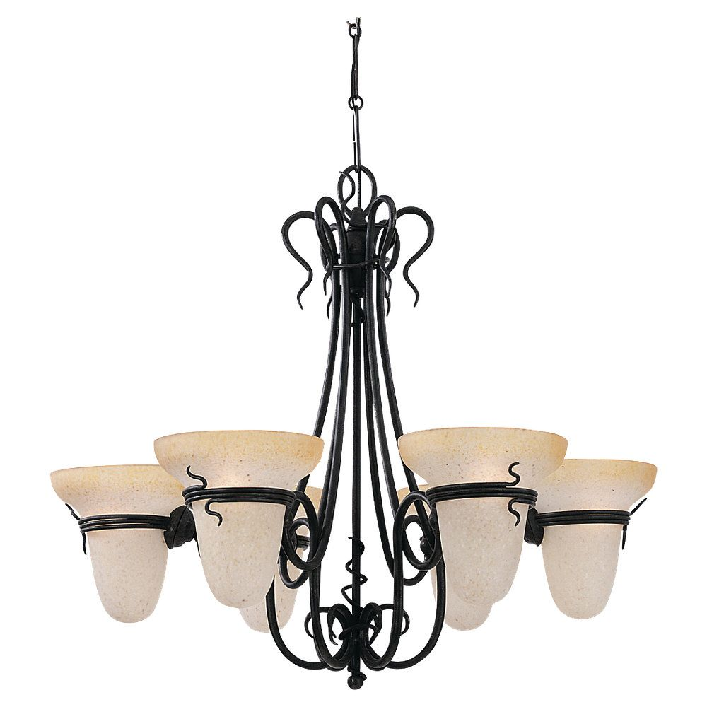 6-Light Forged Iron Chandelier