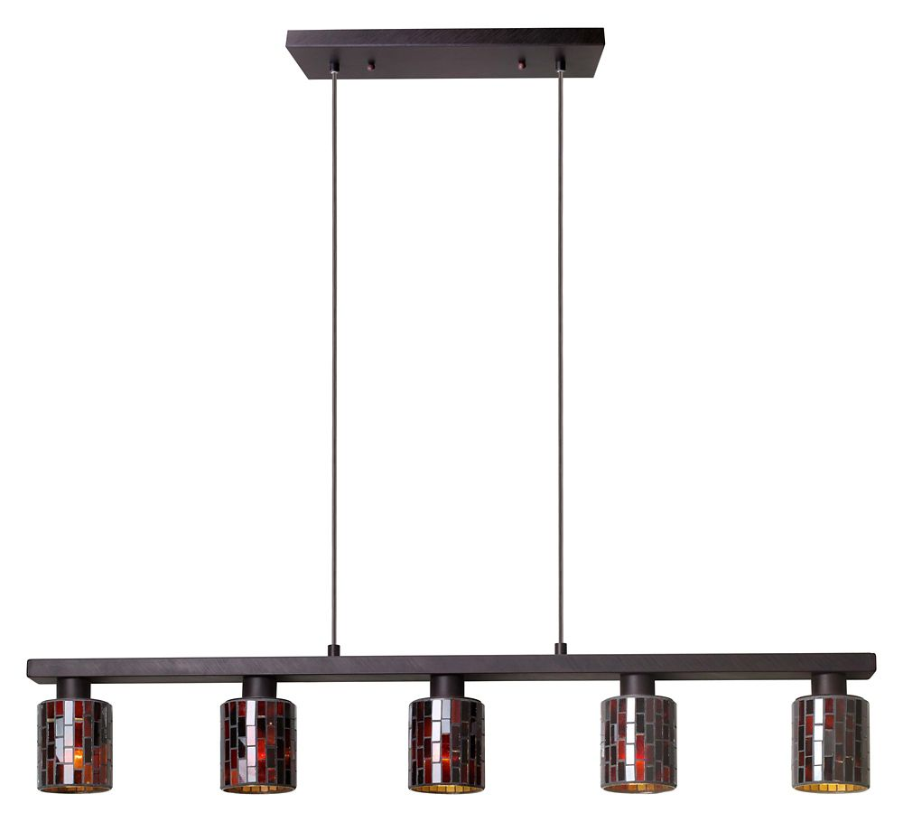 Eglo Troya 5-Light Antique Brown Hanging/Ceiling Island Light with Mosaic Glass Shade