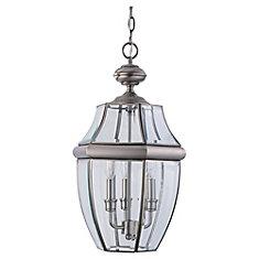 3-Light Antique Brushed Nickel Outdoor Pendant