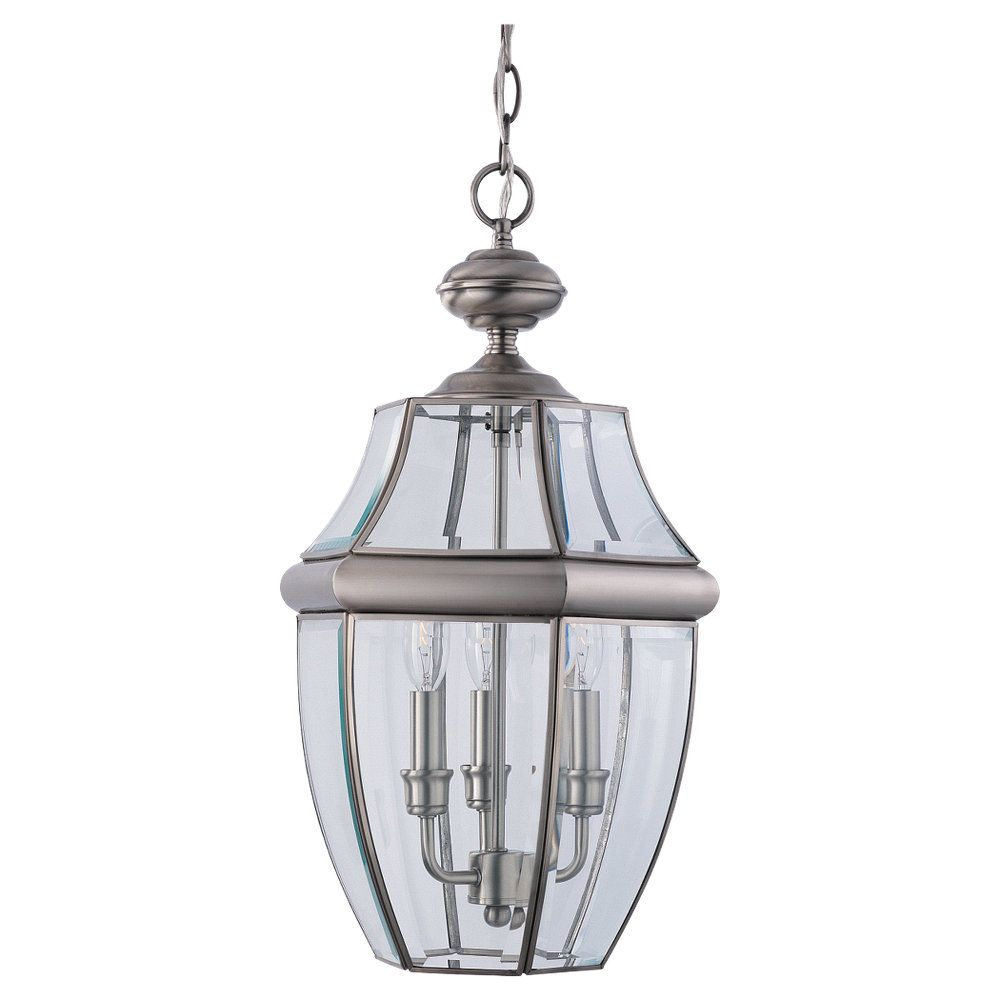 3-Light Antique Brushed Nickel Outdoor Pendant