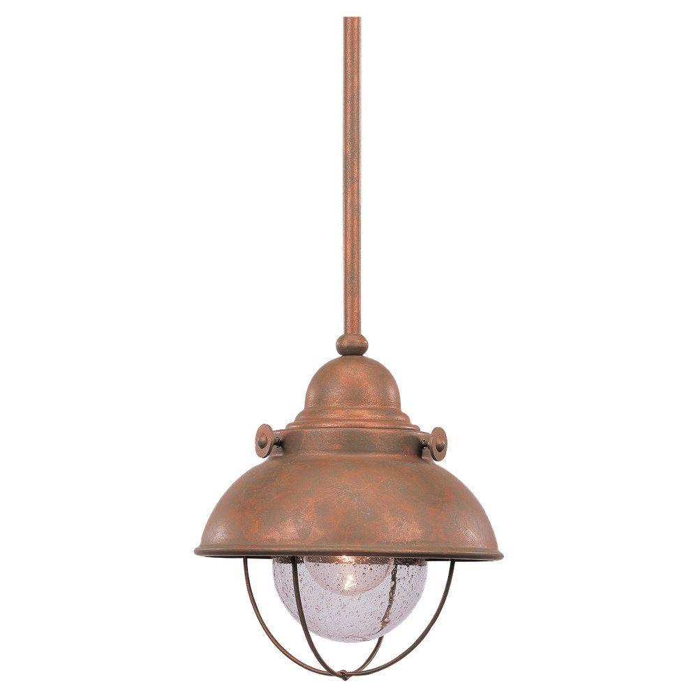 1-Light Weathered Copper Pendant