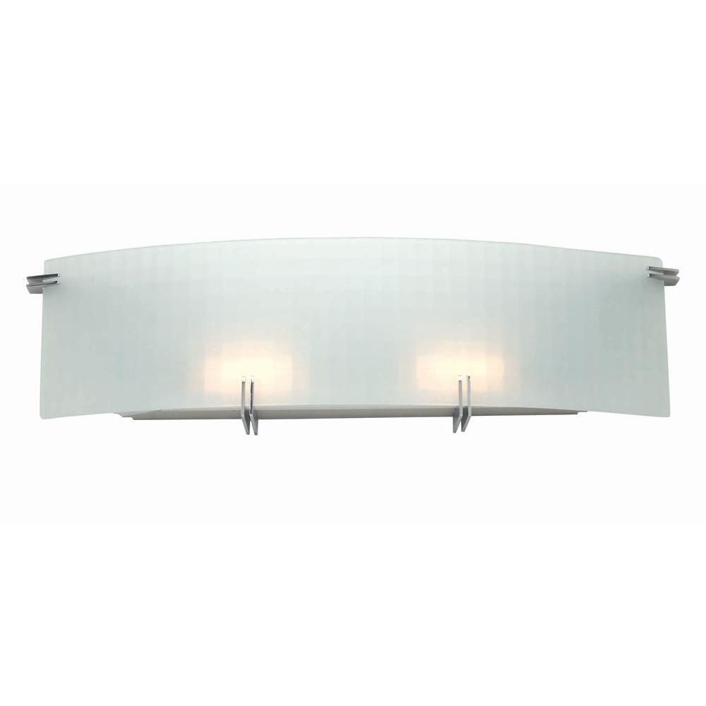 2 Light Wall Sconce Frost Finish Curved Glass Shade
