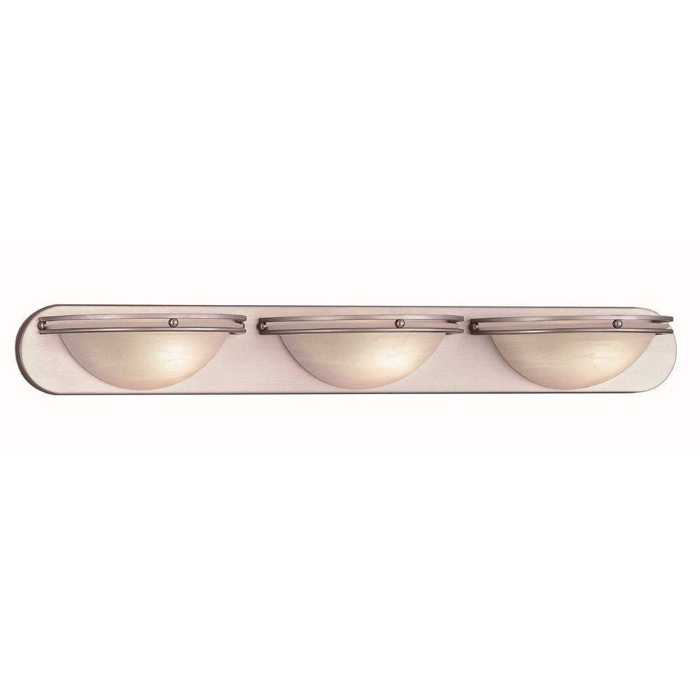 3 Light Vanity Lamp Steel Finish Cloud Alabaster Glass