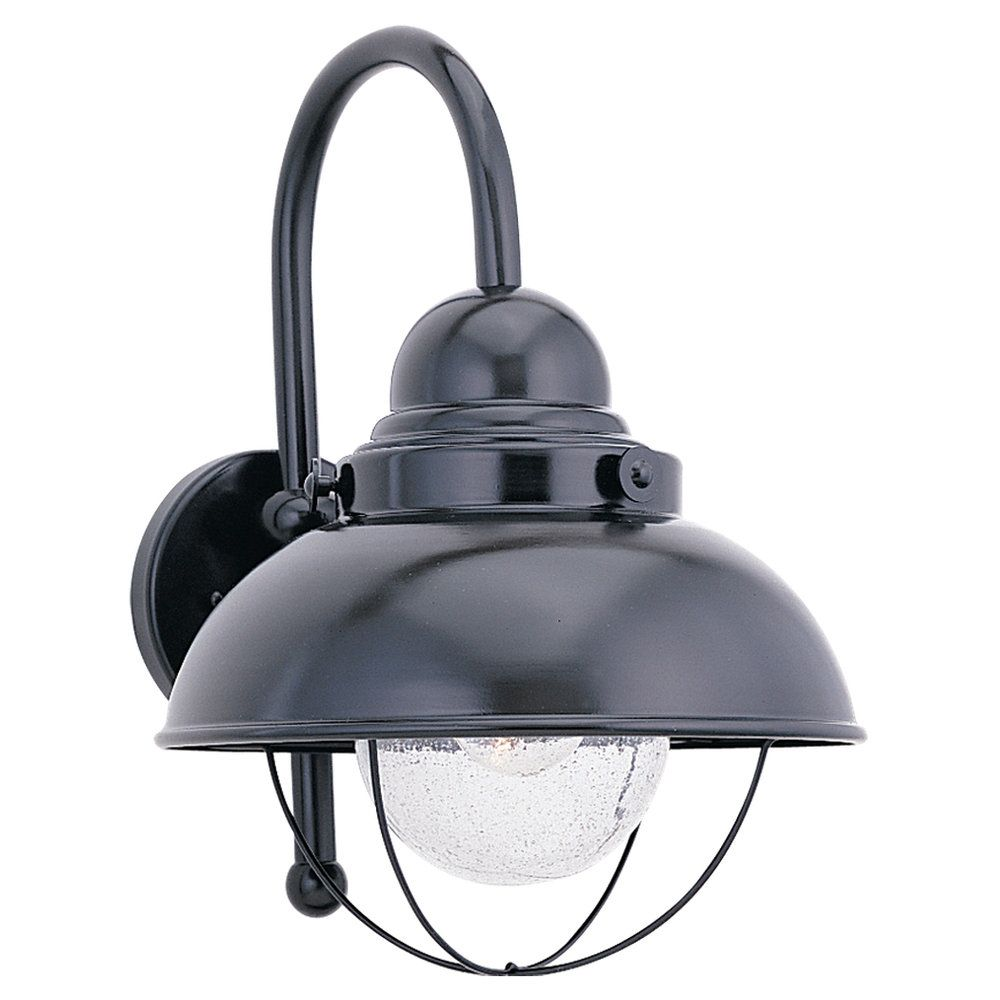 1-Light Black Outdoor Wall Lantern