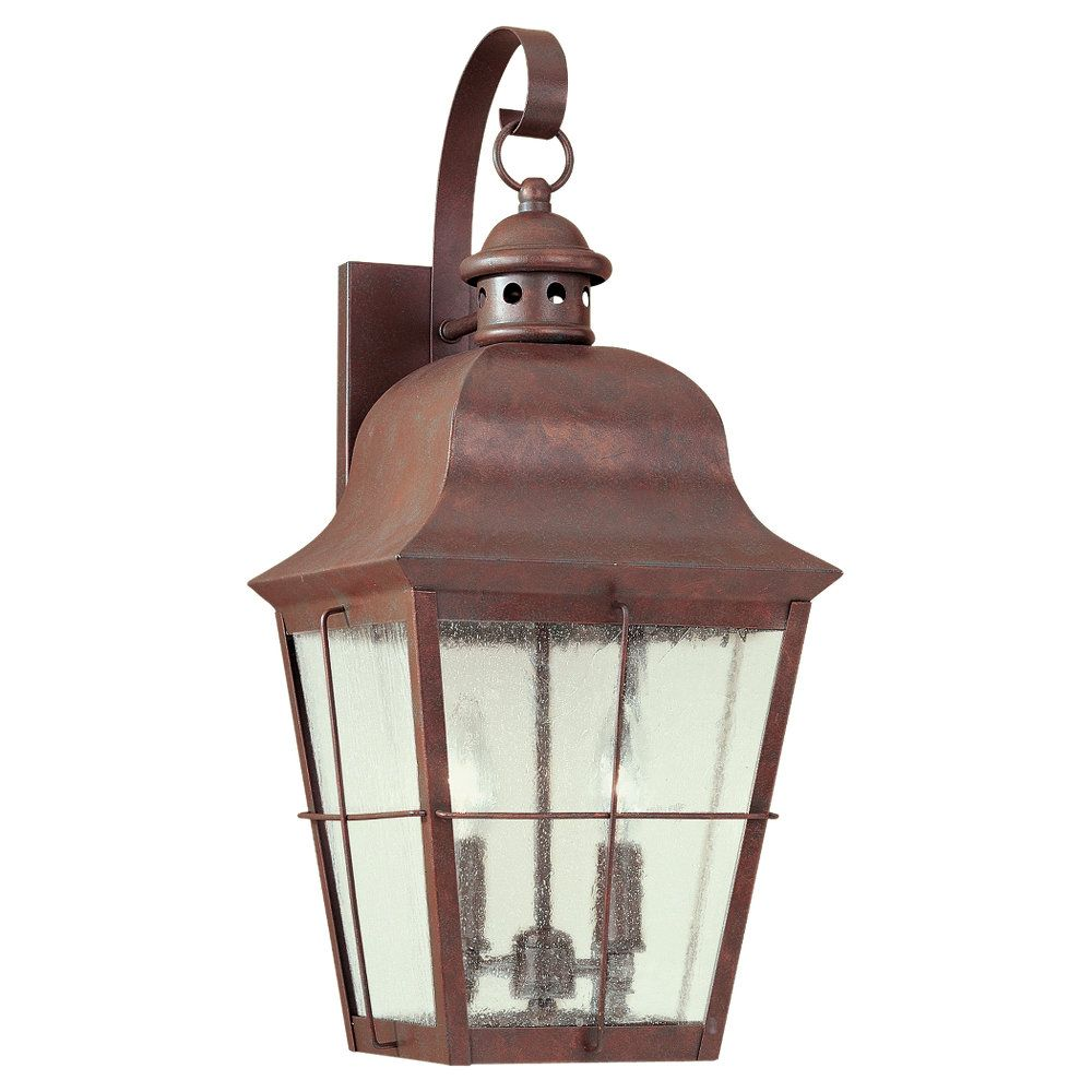2-Light Weathered Copper Outdoor Wall Lantern