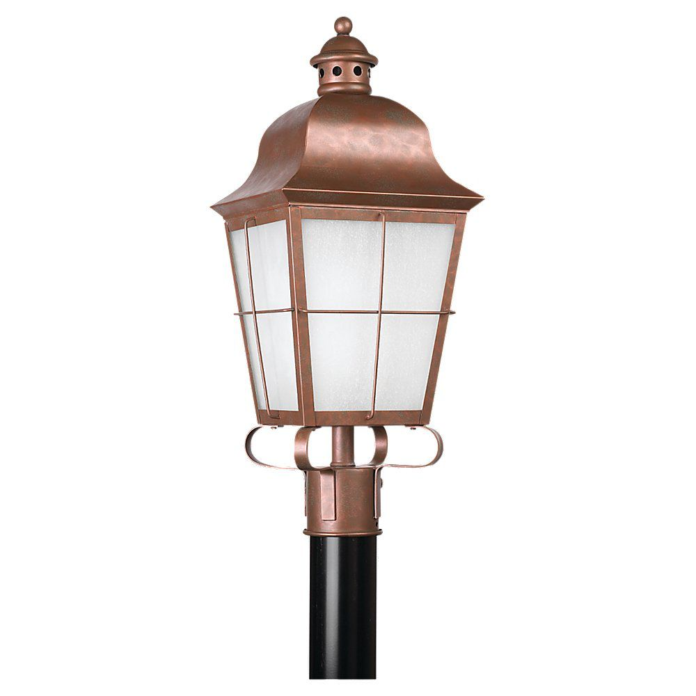 1 Light Weathered Copper Fluorescent Outdoor Post Lantern