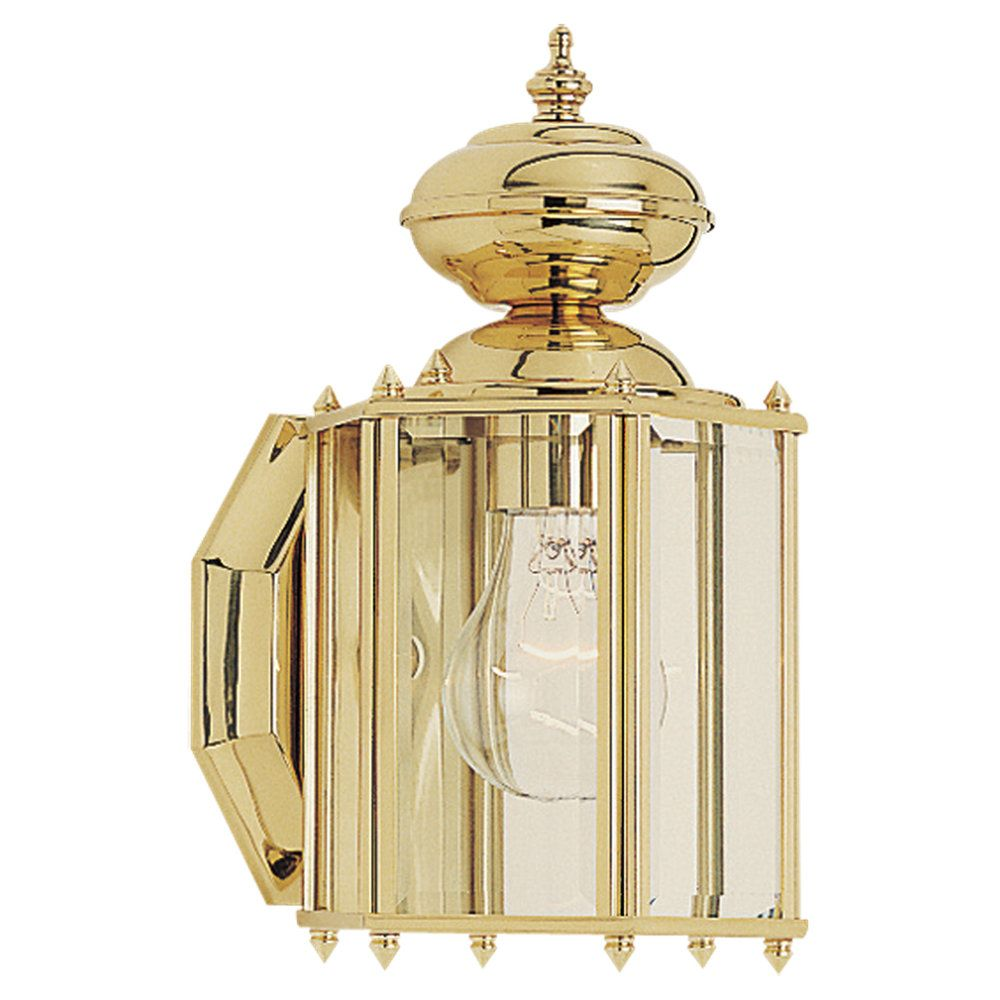 1-Light Polished Brass Outdoor Wall Lantern