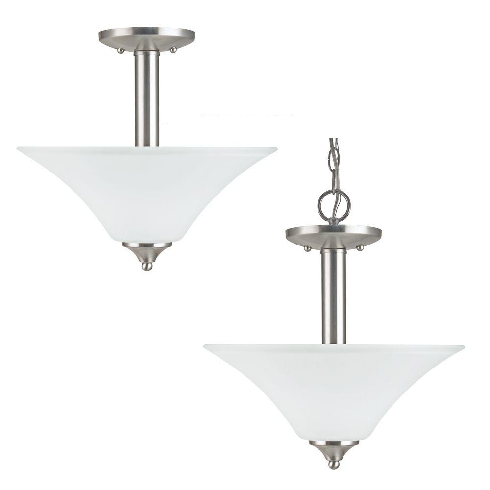 2 Light Brushed Nickel Fluorescent Semi-Flush