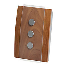 Décor Wireless Chime & Push - Wood w Glass Accents