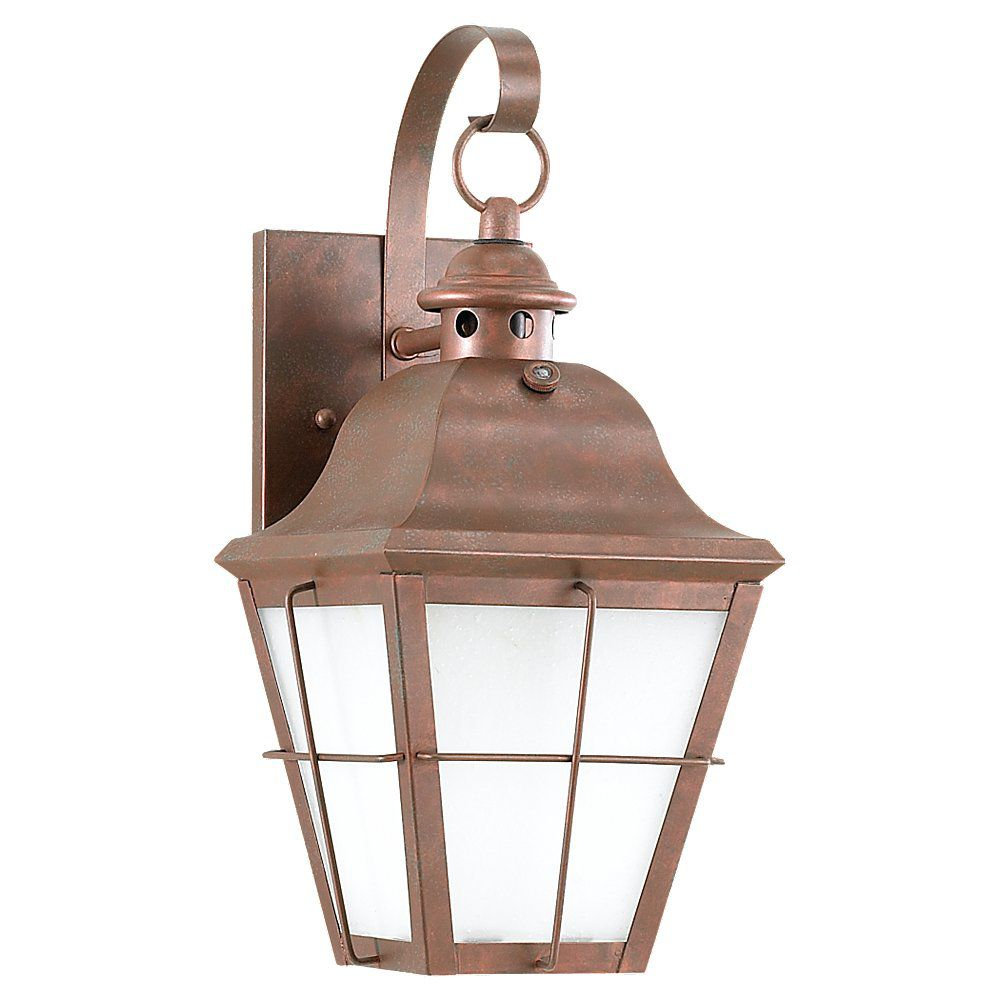 1 Light Weathered Copper Fluorescent Outdoor Wall Lantern