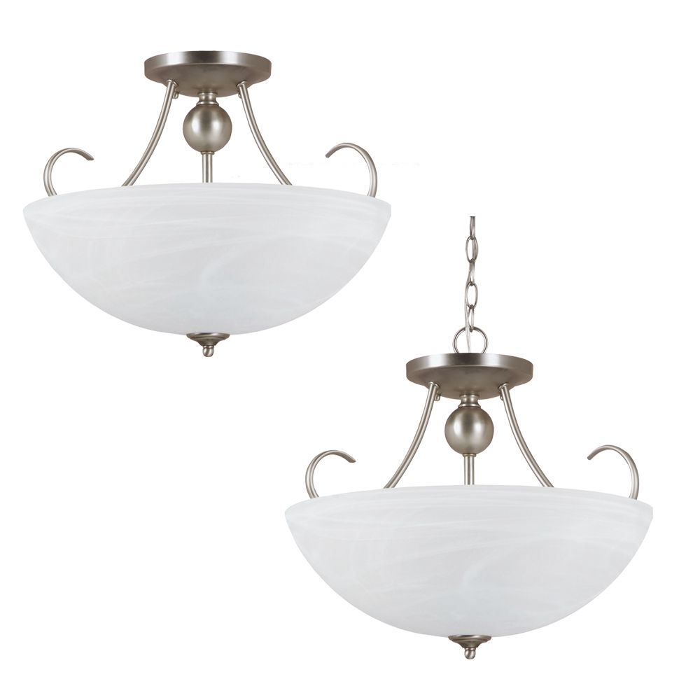 3-Light Antique Brushed Nickel Semi-Flush
