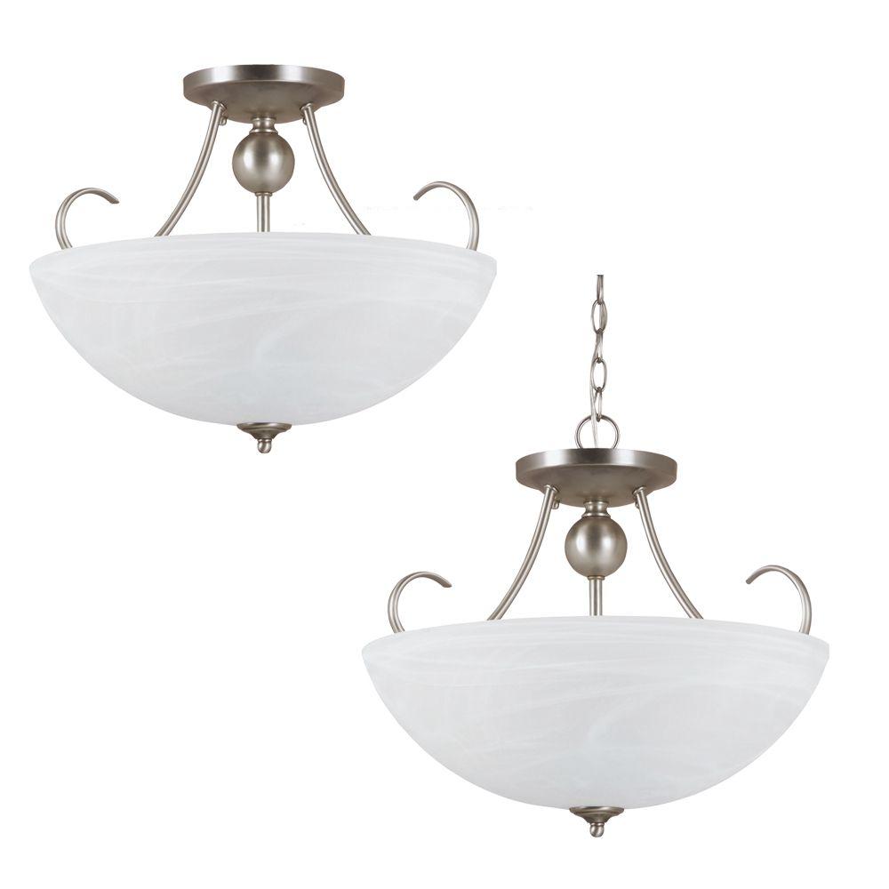 Plafonnier Seagull à trois ampoules avec abat-jour blanc, finition de spécialité