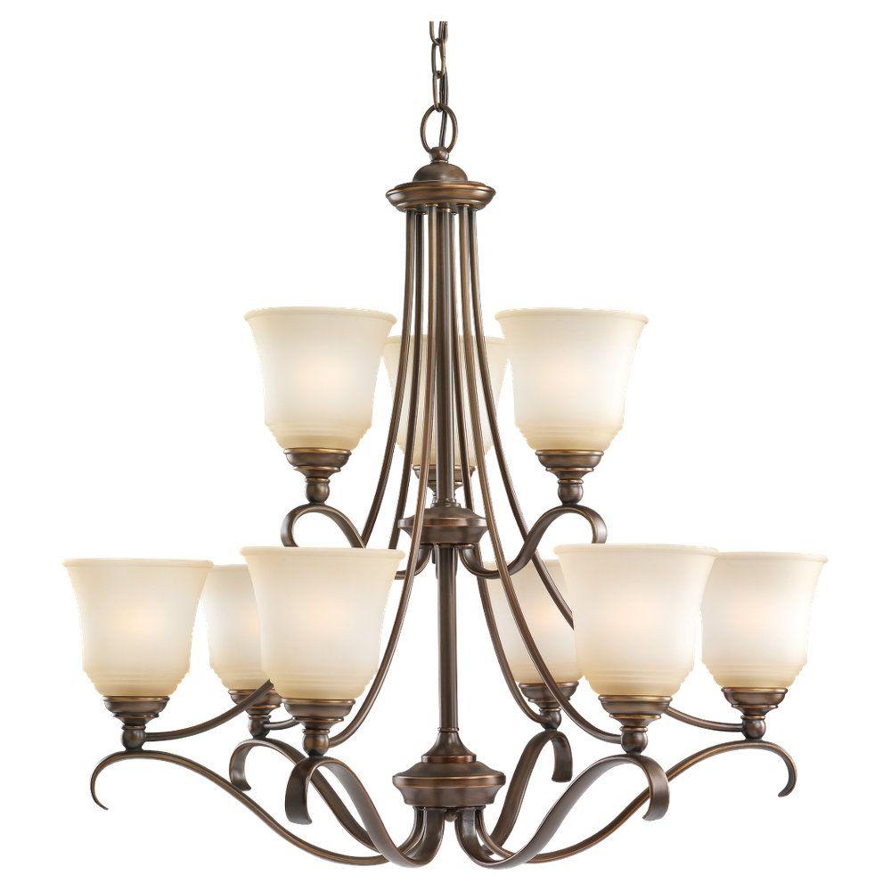 9 lumières Russet Bronze Lustre Fluorescent