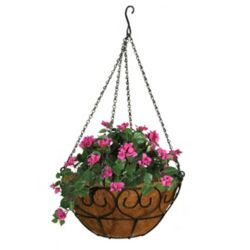Patio Life 16 Inch Heart Scroll Hanging Basket