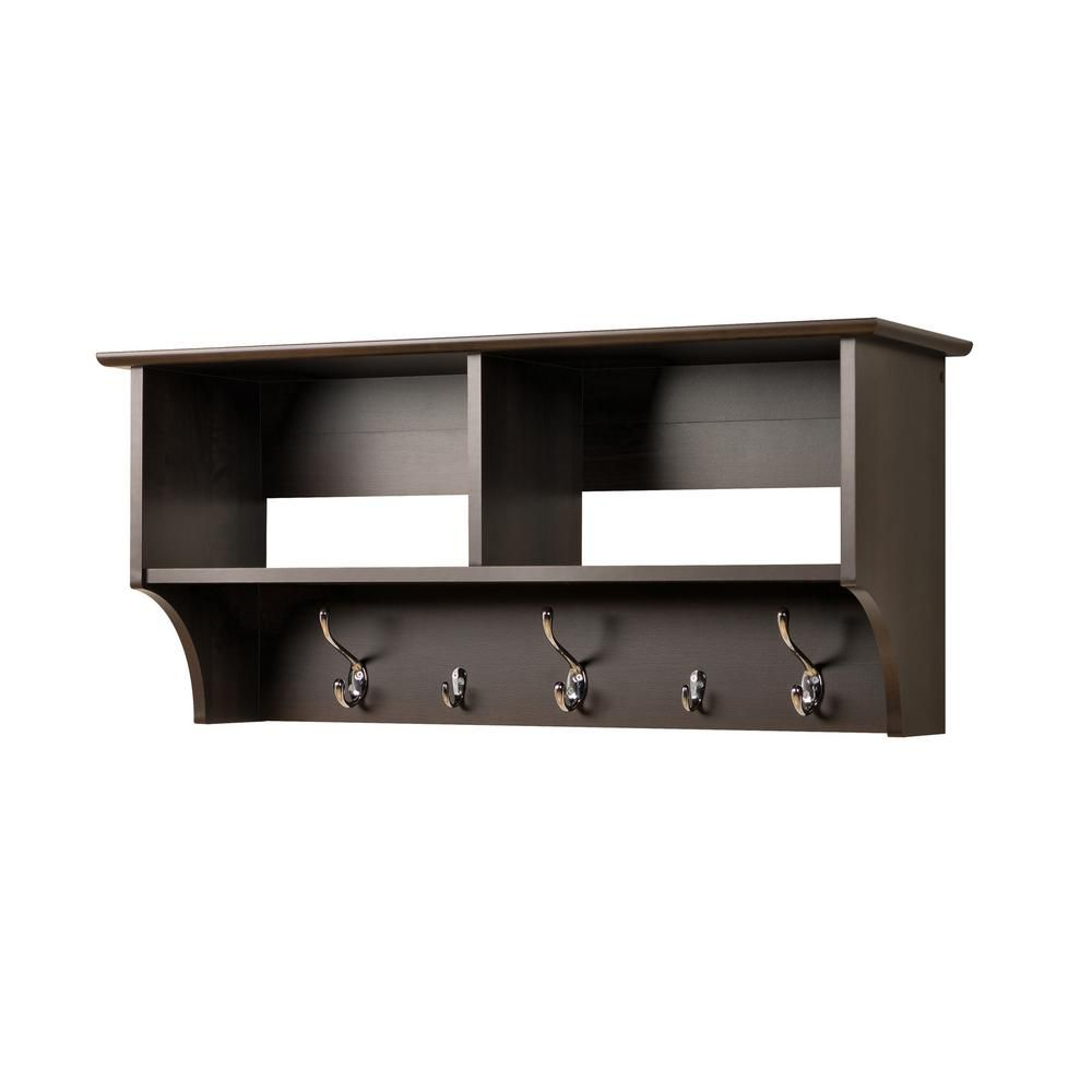 Espresso 36 Inch Wide Hanging Entryway Shelf