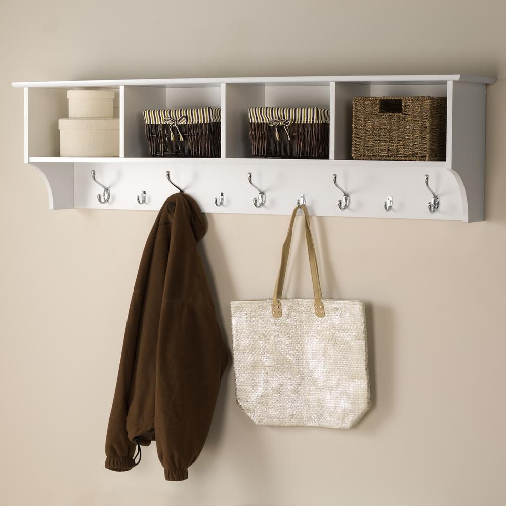White 60 Inch  Wide Hanging Entryway Shelf