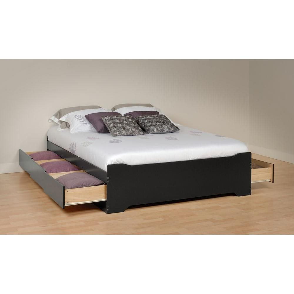 Base Lit Double En Bois : Queen Platform Storage Bed with 12 Drawers