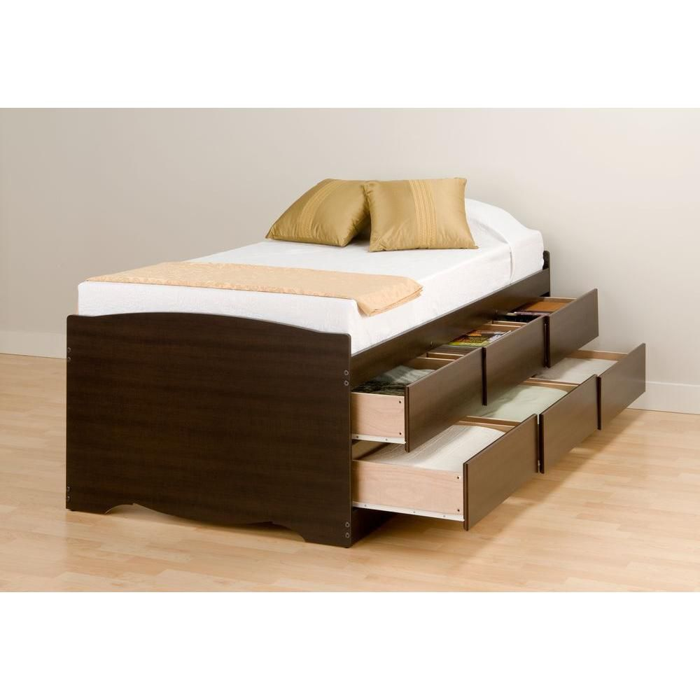Prepac espresso tall twin captains platform storage bed for Double bed with storage and mattress