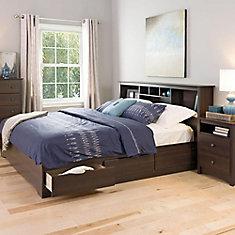 Base de lit matelot à 6 tiroirs pour très grand lit Mate's, espressso