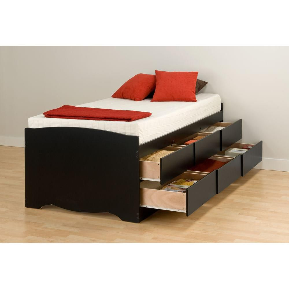 prepac base de lit capitaine haute six tiroirs pour lit. Black Bedroom Furniture Sets. Home Design Ideas