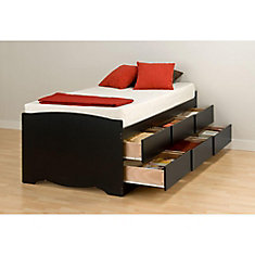 Captain's 6-Drawer Twin Tall Platform Storage Bed in Black