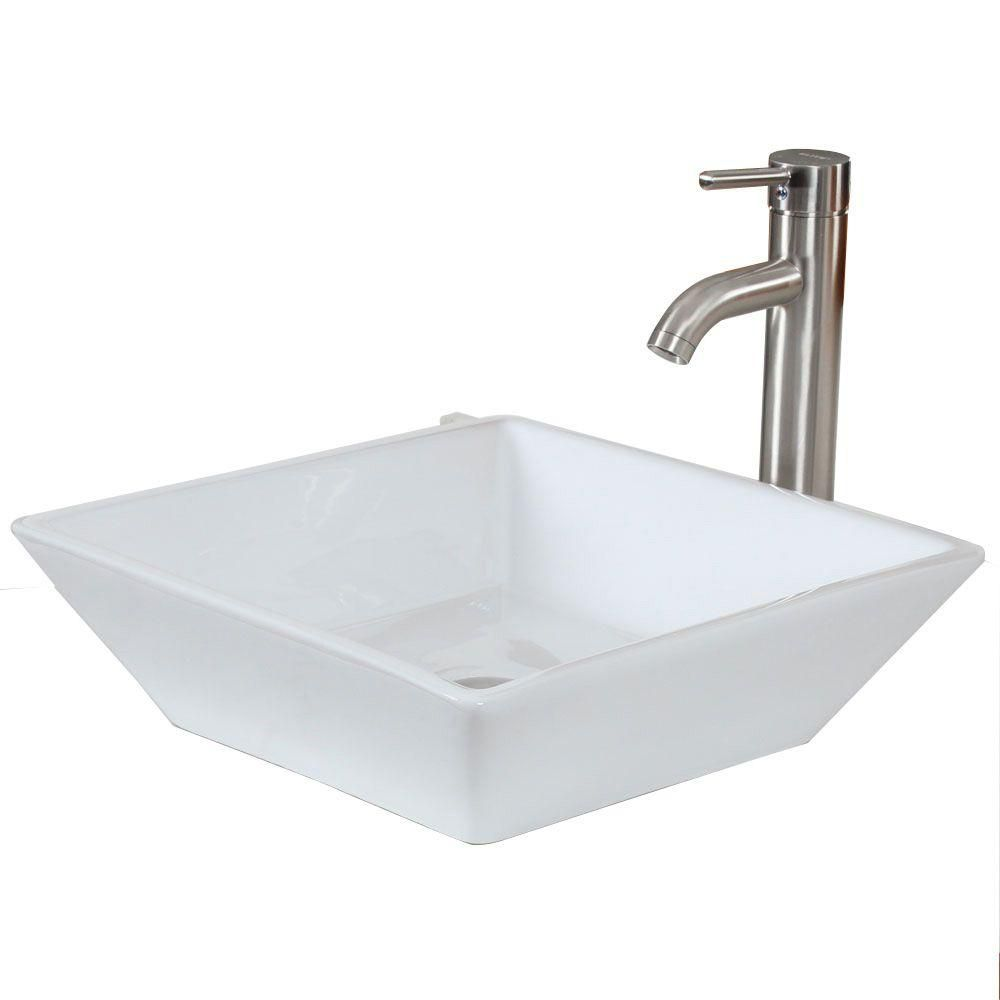 American Imaginations 15.75-in. W x 15.75-in. D Above Counter Square Vessel In White Color For Deck Mount Faucet
