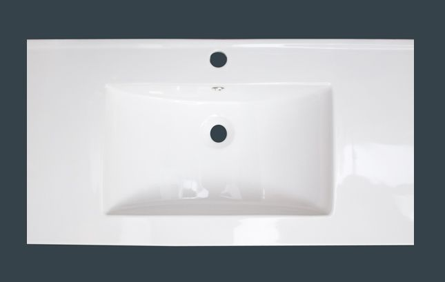 32 po x 18 po Comptoir en céramique blanche, avec orifice unique de robinet