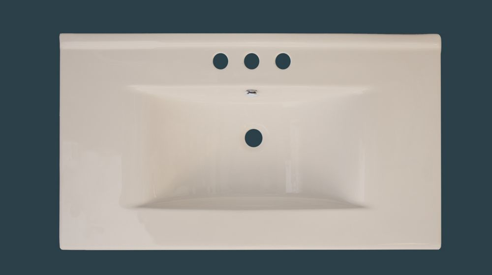 36-inch W x 20-inch D Ceramic Top with 8-inch Centres in Biscuit