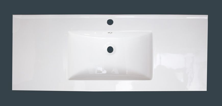 48-inch W x 18-inch D Ceramic Top with Single Hole in White