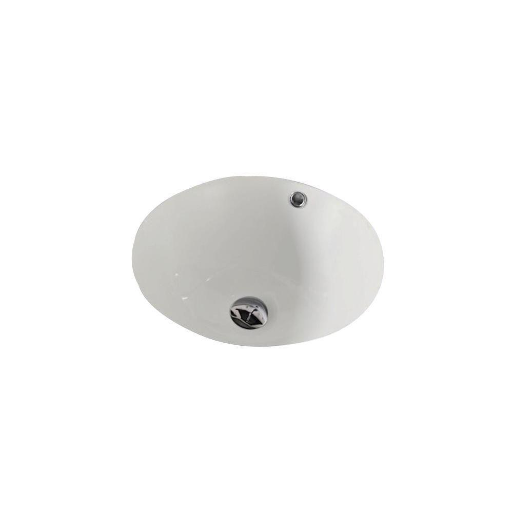 American Imaginations 15 1/4-inch W x 15 1/4-inch D Round Undermount Sink in Biscuit