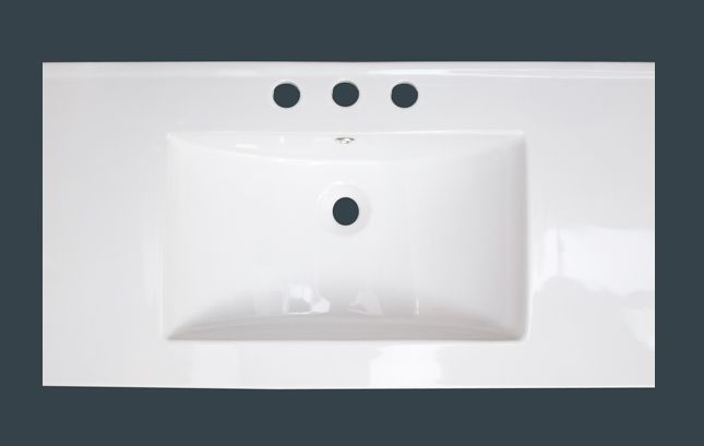 36-inch W x 20-inch D Ceramic Top with 8-inch Centres in White