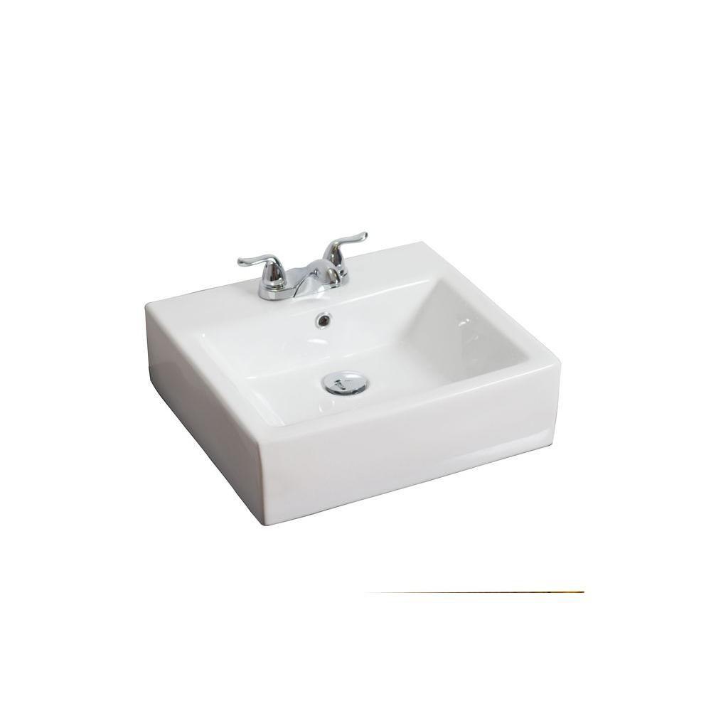 Vasque en céramique blanche, installation sur Comptoir, carrée, avec centres de 4 po